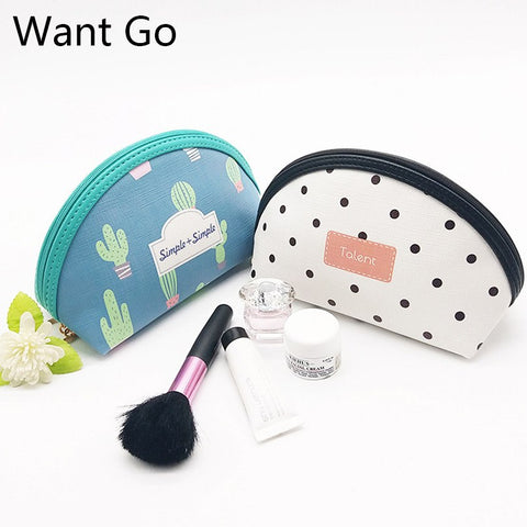 Want Go Preppy Style Women Coametic Bag For Makeup Organizer Lady Leather Travel Storage Pouch Portable Students Vanity Wash Bag