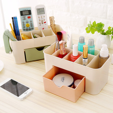 Plastic Storage Box Drawer Type Makeup Organizer Makup Brush Cotton Pad Tool Holder Jewelry Shelf Desktop Sundries Organizer Box
