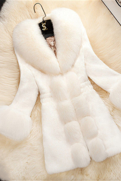 Elegant Long Lapel Fur Collar Coat