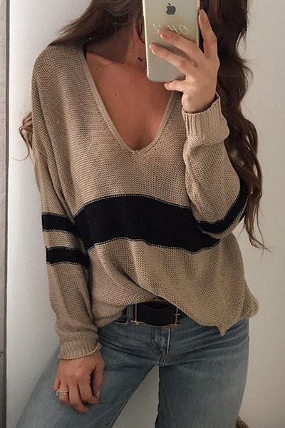 V-neck Striped Long Sleeve Knitted Sweater