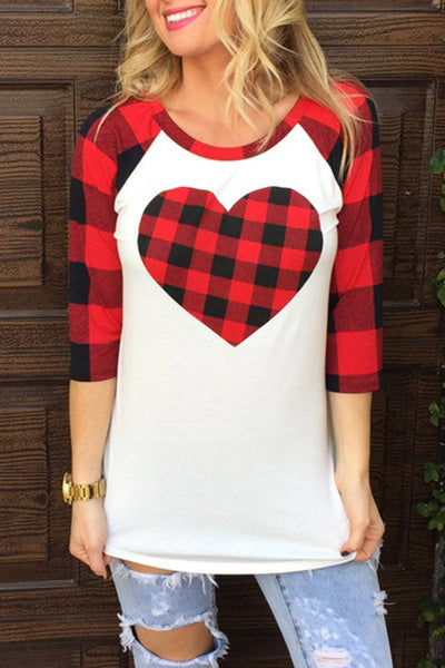 O-neck Heart Printed 3/4 Sleeve T-shirt