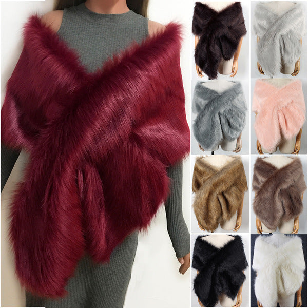 Elegant Crossing Fur Shawl
