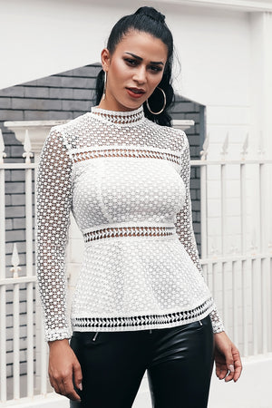 Fashion Stand Collar White Lace Blouse