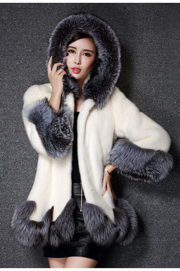 FOX Collar Rex Rabbit Hooded Fur Coat
