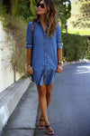 Casual Lapel Denim Shirt Dress