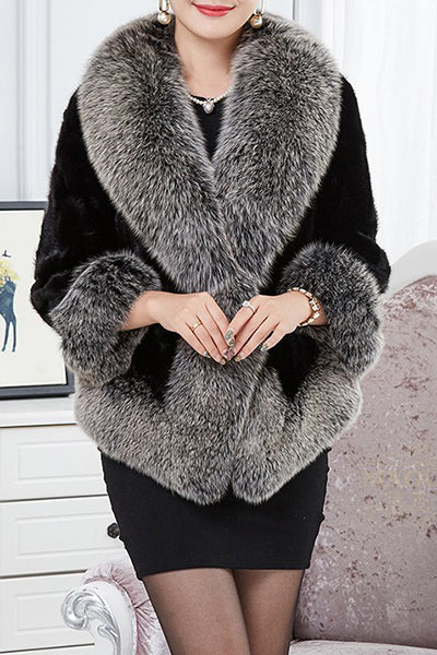 Classic And Elegant Collarless Fur Coat