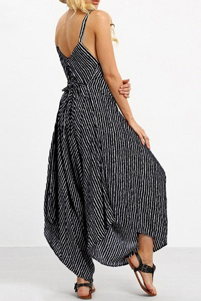 Fashion Loose Striped Sling Jumpsuit