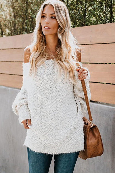 Fashion Solid Off-shoulder Long Sleeve Sweaters