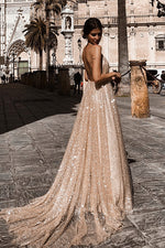 Bling Sexy Backless Braces Maxi Dress