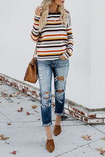 Fashion Loose Multi-color Striped T-shirt