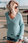 Loose Solid V-neck Shredded Sweater