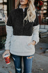 High Collar Zipper Fluffy Sweatshirt