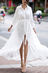 Basic Solid White Maxi Shirt Dress