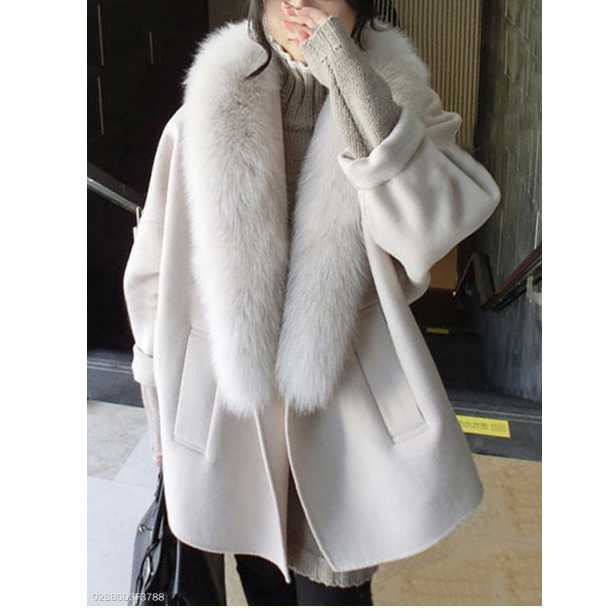 Faux Fur Collar Slit Pocket Plain Batwing Sleeve Coats