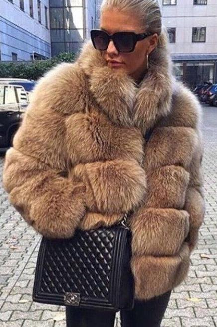 Straight Neck Winter Warm Fur Coat
