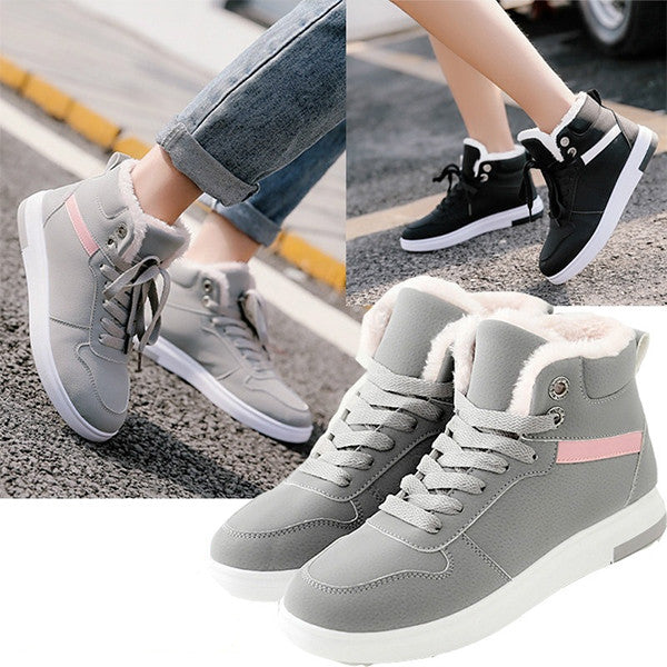 Women Flannel Thickening Flat Bottomed Sports Snow Boots
