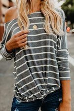 Fashion Striped Pullover Long Sleeved T-shirt