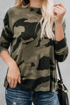 O-neck Long Sleeve Camouflage T-shirt