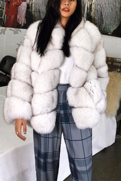 Four Colors Warm Collarless Fur Coat