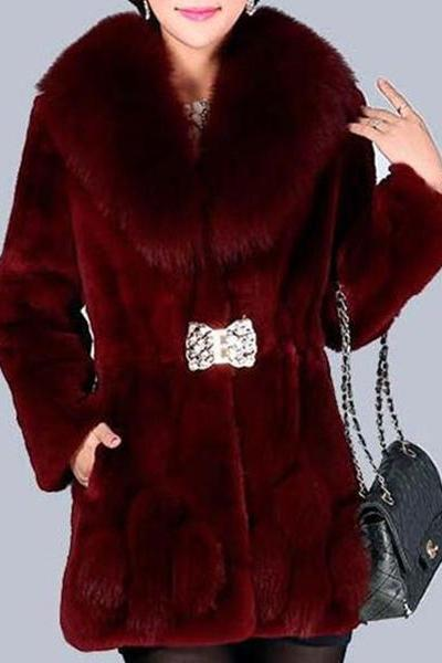 Fox Fur Collar Rex Rabbit Fur Grass Waist Short Coat