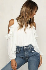 Solid Off-shoulder Chiffon Ruffle Blouse