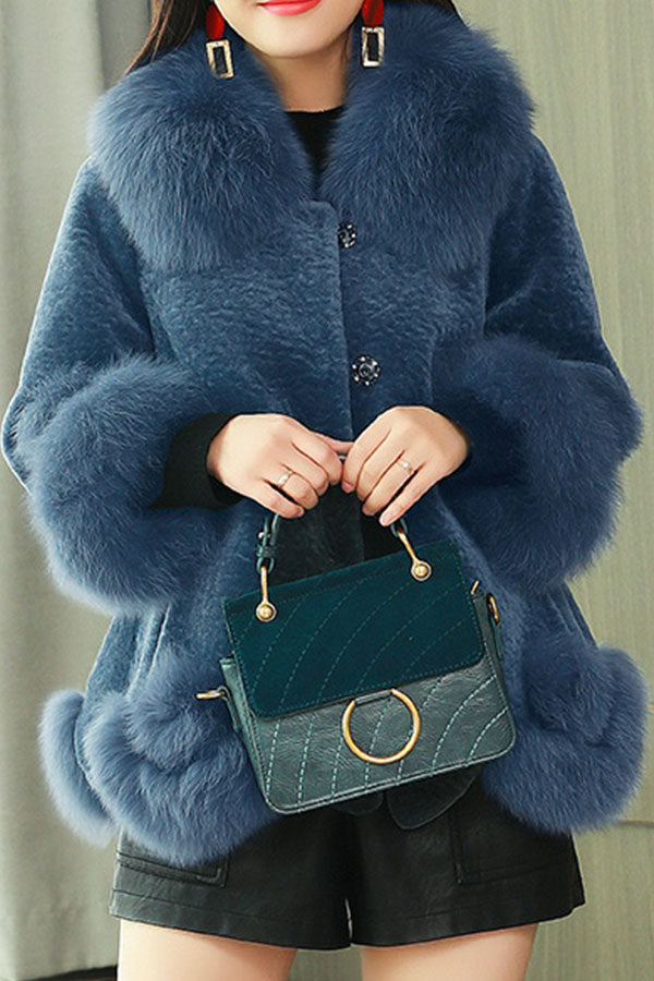 Fox Fur Lamb Sheep Shearling Coat