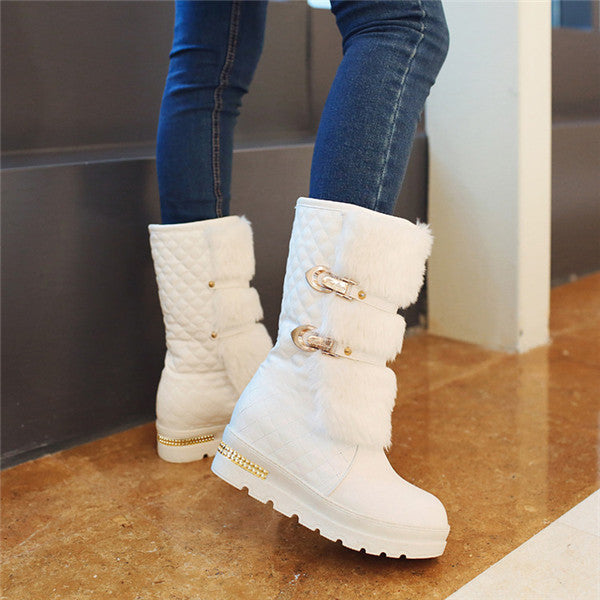 Women Fashion Metal Buckle Increased Booties Plus Velvet Warm Fur Snow Boots