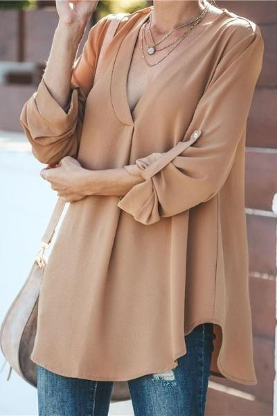 Women Fashion Casual V-neck Loose Shirt
