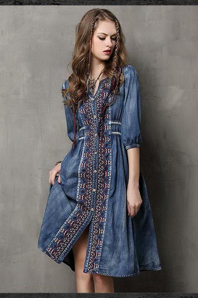 Ethnic Style Embroidery Drawstring Denim Dress
