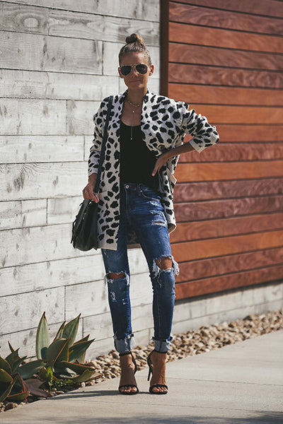 Loose Leopard Pattern Knitted Cardigan