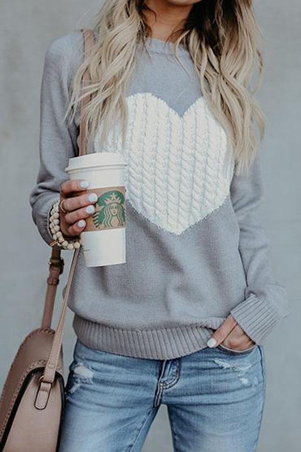 Heartshaped Round Neck Color Block Sweaters