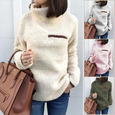 Women High Collar Zip Plain Tops Sweatshirts