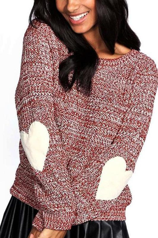 Pure Color Longs Sleeved Elbow Love Patch Knitted Sweaters