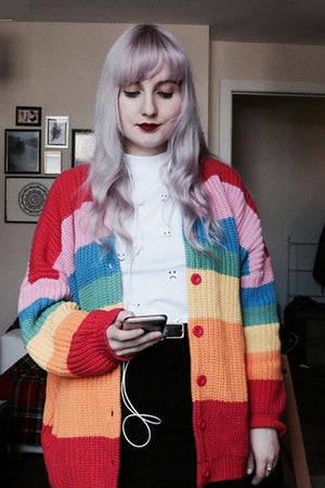 Loose Rainbow Colorful Knitted Cardigan
