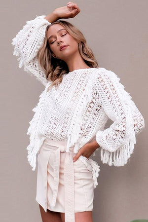 Solid Tassel Hollow Out Pullover Blouse