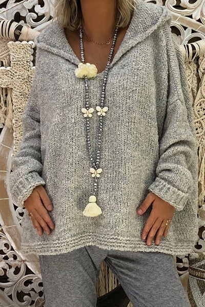 Casual Loose Knitted Hooded Pullovers