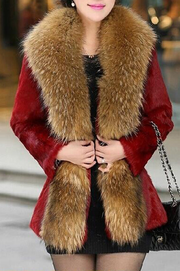 Fox Fur Collar Mink Fur Coat