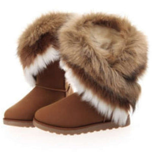 Women Winter Warm Flat Fur Ankle Leather Round-toe Snow Boots