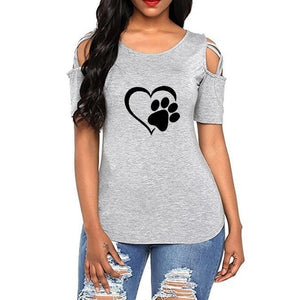 Women Casual Off Shoulder Heart Printed  T Shirt