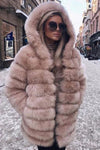 Hooded Strip Fur Coat