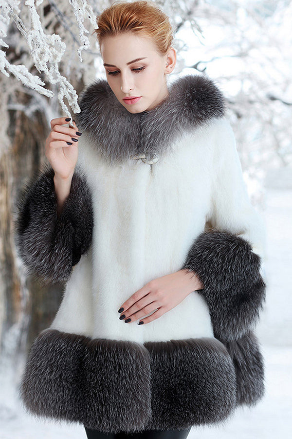 Mid-Long Hooded Mink Coat