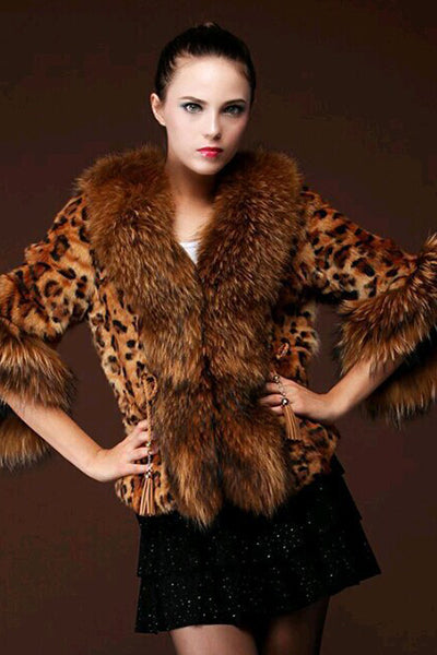 Warm Leopard Pattern Fur Collar Coat