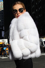 Ring Sleeve Solid Color Fur Coat