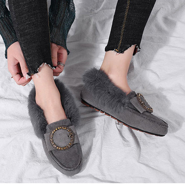 Fluffy Round Toe Suede Metal Buckle Shoes