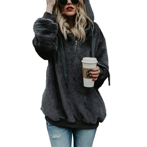 Zipper Fluffy Casual Plus Size Long Sleeve Hoodie