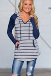 V-neck Striped Pockets Hooded Sweatshirt