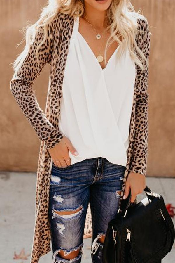 New Collarless Leopard Print Outerwear