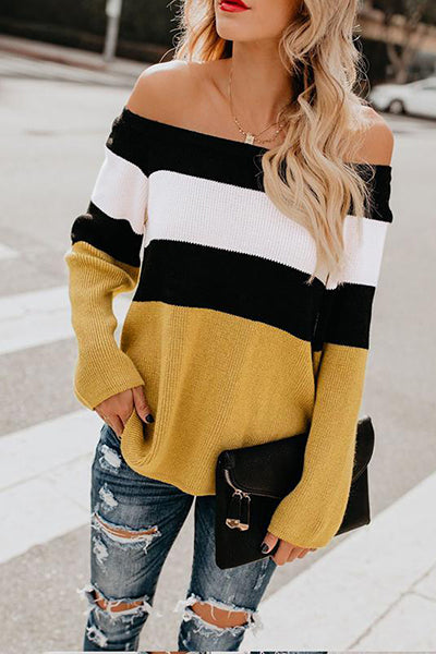 Casual Tricolor Off-shoulder Striped Sweaters