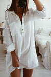 V-neck Button Linen Shirt Dress