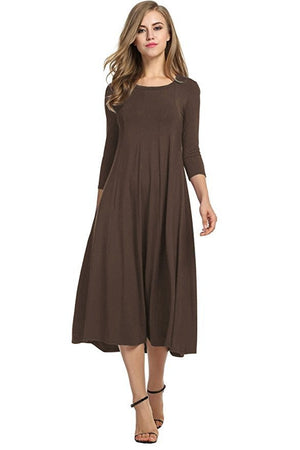 [7 Colors] O-neck Loose Long Sleeve Solid Dress